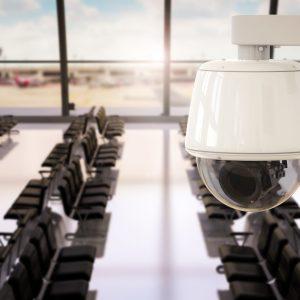 3d rendering cctv camera or security camera in airport terminal